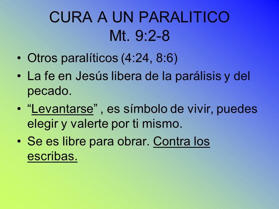 CURA A UN PARALITICO Mt. 9:2-8 Otros paralíticos (4:24, 8:6) La fe en Jesús libera de la parálisis y del pecado. Levantarse, es símbolo de vivir, pued