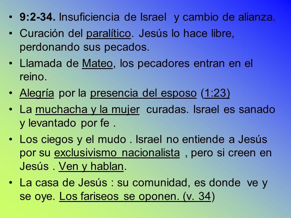 9:2-34. Insuficiencia de Israel y cambio de alianza. Curación del paralítico. Jesús lo hace libre, perdonando sus pecados. Llamada de Mateo, los pecad