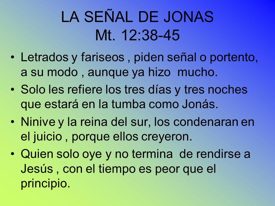 LA SEÑAL DE JONAS Mt. 12:38-45 Letrados y fariseos, piden señal o portento, a su modo, aunque ya hizo mucho. Solo les refiere los tres días y tres noc