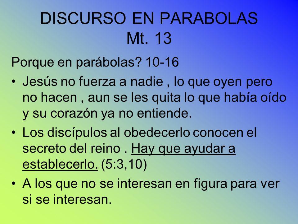 DISCURSO EN PARABOLAS Mt. 13 Porque en parábolas? 10-16 Jesús no fuerza a nadie, lo que oyen pero no hacen, aun se les quita lo que había oído y su co