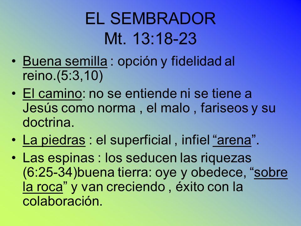 EL SEMBRADOR Mt. 13:18-23 Buena semilla : opción y fidelidad al reino.(5:3,10) El camino: no se entiende ni se tiene a Jesús como norma, el malo, fari