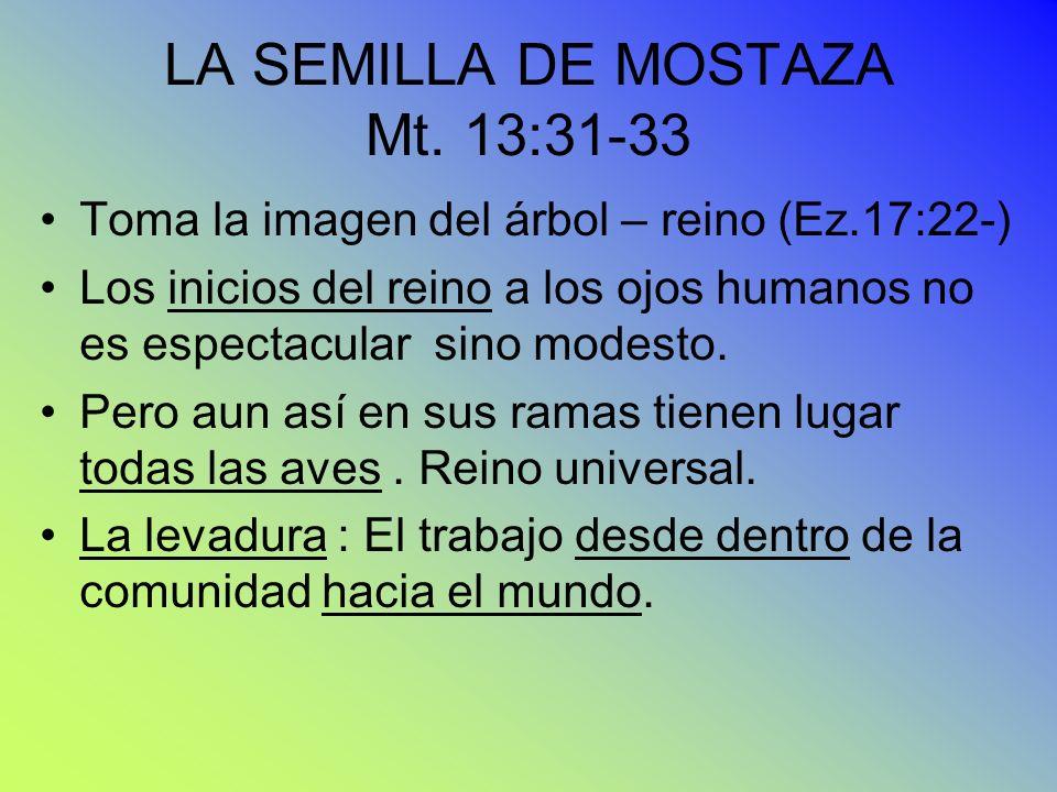 LA SEMILLA DE MOSTAZA Mt. 13:31-33 Toma la imagen del árbol – reino (Ez.17:22-) Los inicios del reino a los ojos humanos no es espectacular sino modes