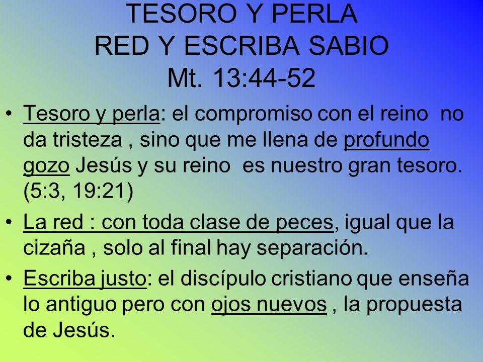 TESORO Y PERLA RED Y ESCRIBA SABIO Mt. 13:44-52 Tesoro y perla: el compromiso con el reino no da tristeza, sino que me llena de profundo gozo Jesús y
