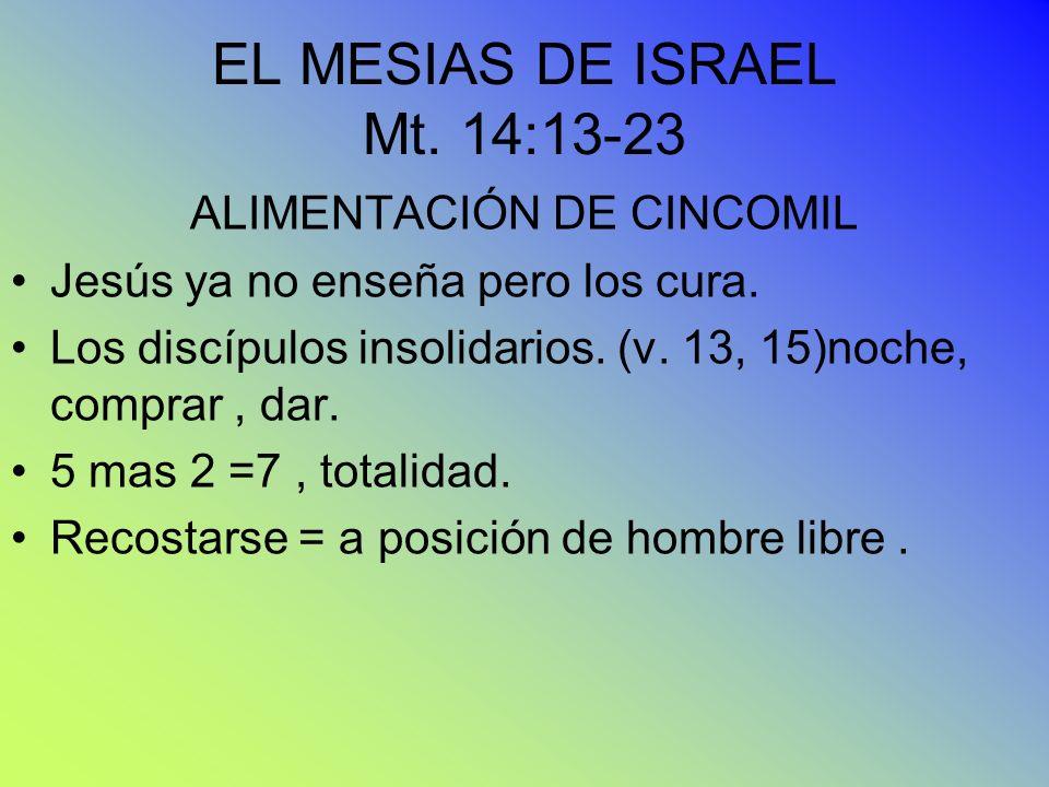 EL MESIAS DE ISRAEL Mt. 14:13-23 ALIMENTACIÓN DE CINCOMIL Jesús ya no enseña pero los cura. Los discípulos insolidarios. (v. 13, 15)noche, comprar, da