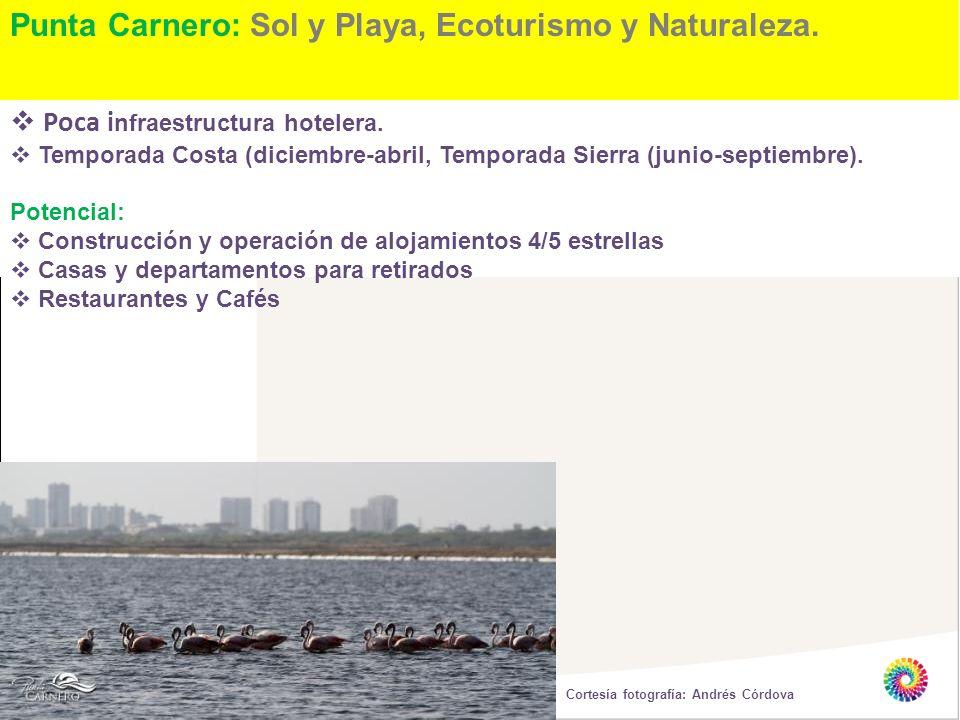 Punta Carnero: Sol y Playa, Ecoturismo y Naturaleza. Poca i nfraestructura hotelera. Temporada Costa (diciembre-abril, Temporada Sierra (junio-septiem