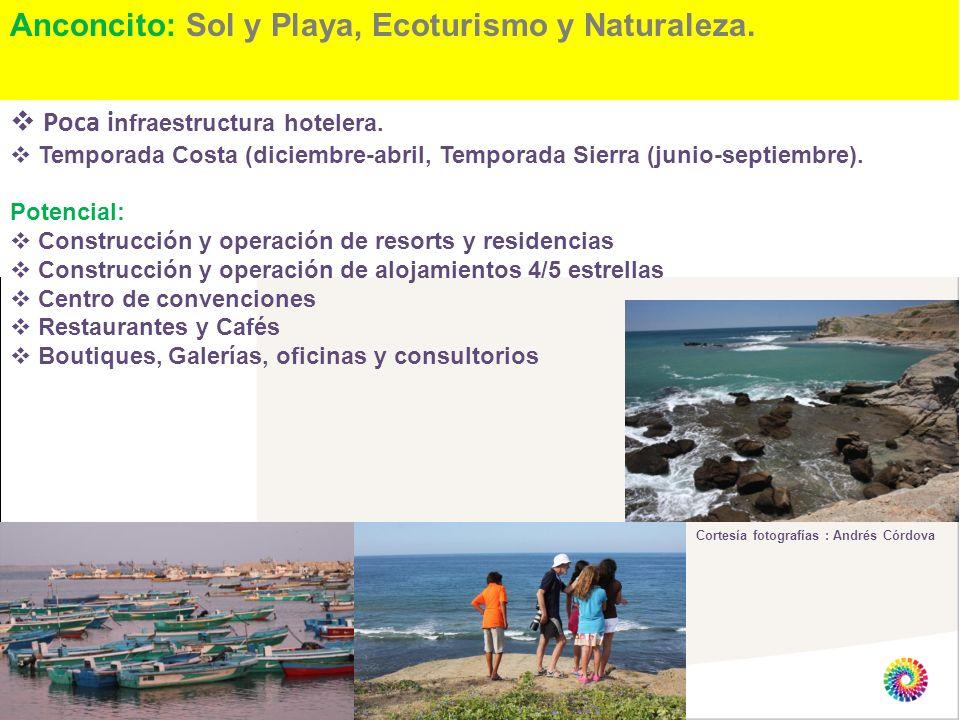 Anconcito: Sol y Playa, Ecoturismo y Naturaleza. Cortesía fotografías : Andrés Córdova Poca i nfraestructura hotelera. Temporada Costa (diciembre-abri