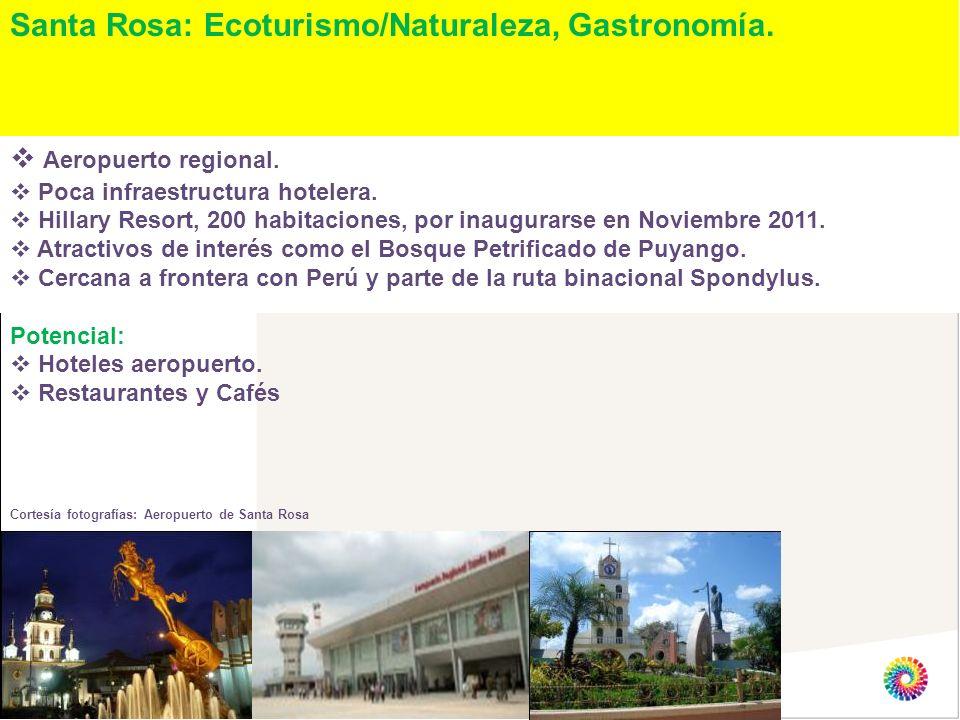 Santa Rosa: Ecoturismo/Naturaleza, Gastronomía. Aeropuerto regional. Poca infraestructura hotelera. Hillary Resort, 200 habitaciones, por inaugurarse