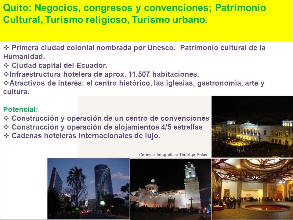 Quito: Negocios, congresos y convenciones; Patrimonio Cultural, Turismo religioso, Turismo urbano. Primera ciudad colonial nombrada por Unesco, Patrim