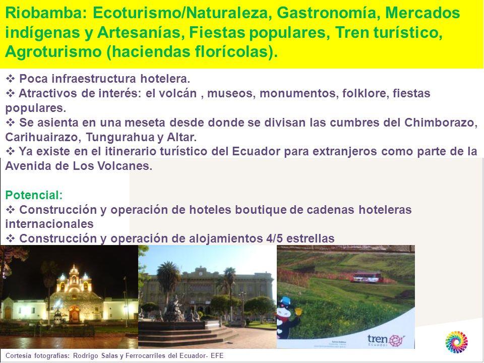 Riobamba: Ecoturismo/Naturaleza, Gastronomía, Mercados indígenas y Artesanías, Fiestas populares, Tren turístico, Agroturismo (haciendas florícolas).