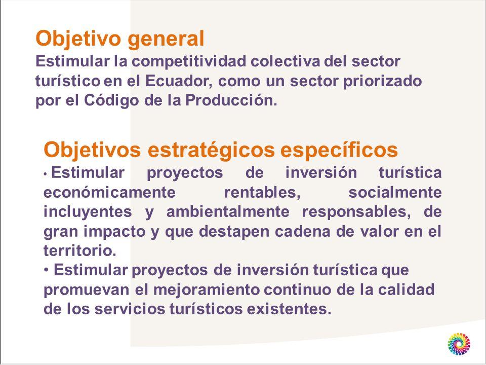 Objetivo general Estimular la competitividad colectiva del sector turístico en el Ecuador, como un sector priorizado por el Código de la Producción. O