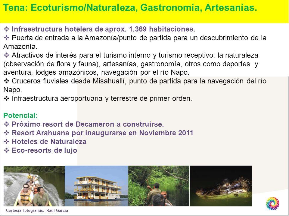 Tena: Ecoturismo/Naturaleza, Gastronomía, Artesanías. Infraestructura hotelera de aprox. 1.369 habitaciones. Puerta de entrada a la Amazonía/punto de