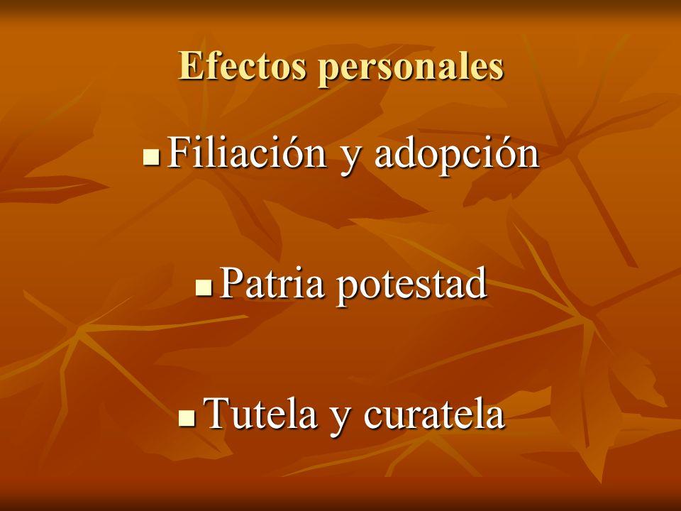 Efectos personales Filiación y adopción Filiación y adopción Patria potestad Patria potestad Tutela y curatela Tutela y curatela