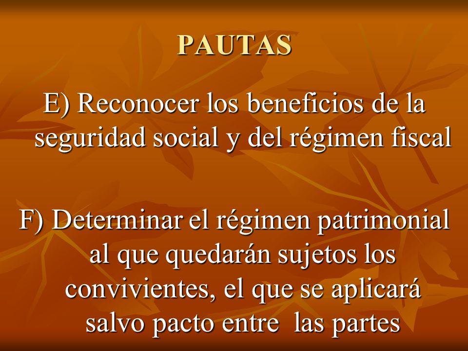 PAUTAS E) Reconocer los beneficios de la seguridad social y del régimen fiscal F) Determinar el régimen patrimonial al que quedarán sujetos los convivientes, el que se aplicará salvo pacto entre las partes