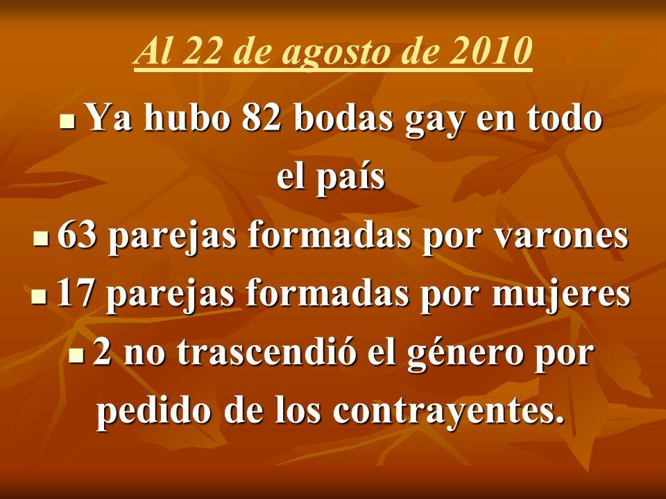 Al 22 de agosto de 2010 Ya hubo 82 bodas gay en todo Ya hubo 82 bodas gay en todo el país 63 parejas formadas por varones 63 parejas formadas por varones 17 parejas formadas por mujeres 17 parejas formadas por mujeres 2 no trascendió el género por 2 no trascendió el género por pedido de los contrayentes.