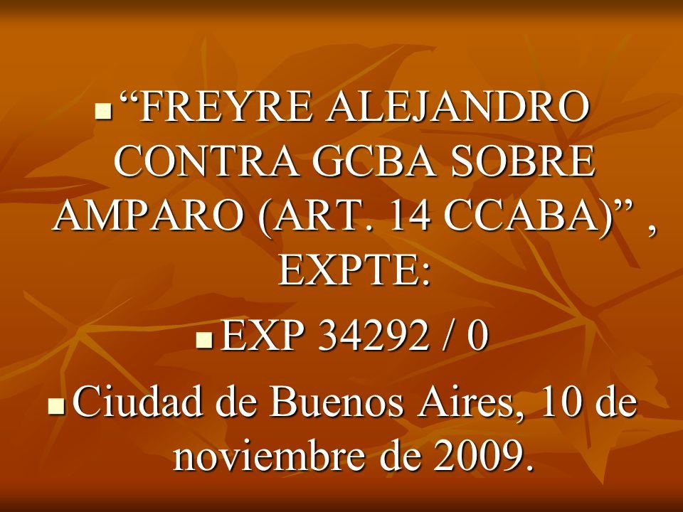 FREYRE ALEJANDRO CONTRA GCBA SOBRE AMPARO (ART.