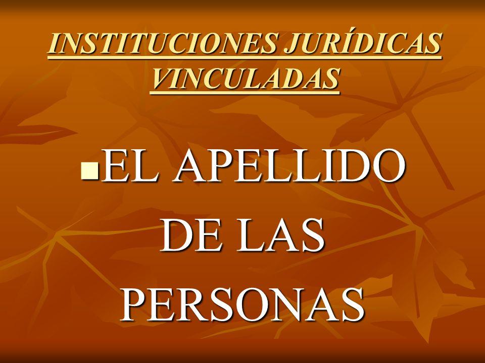 INSTITUCIONES JURÍDICAS VINCULADAS EL APELLIDO EL APELLIDO DE LAS PERSONAS