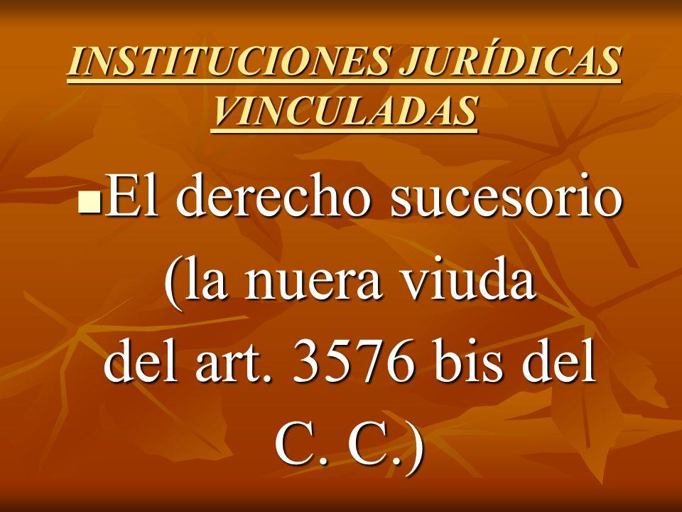 INSTITUCIONES JURÍDICAS VINCULADAS El derecho sucesorio El derecho sucesorio (la nuera viuda del art.