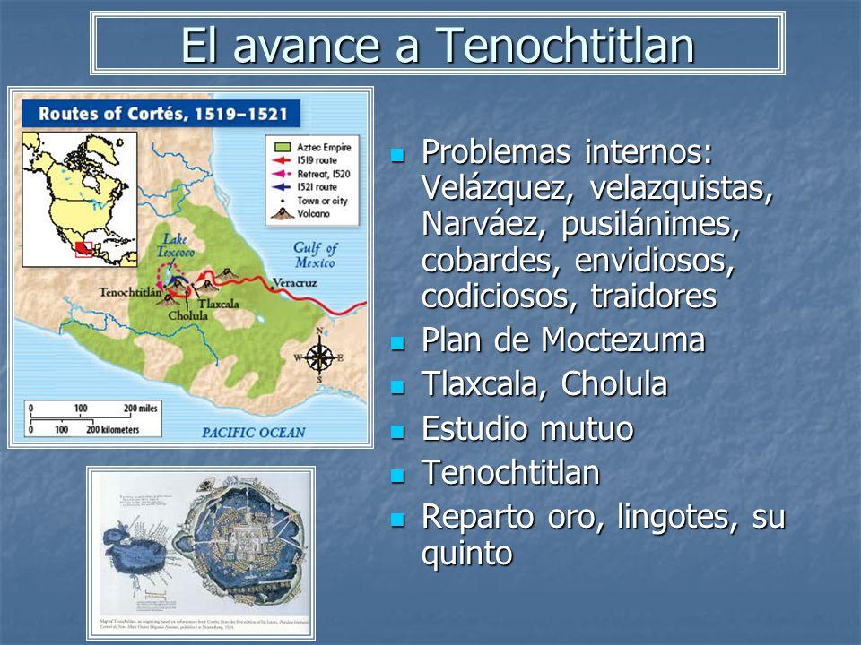 El avance a Tenochtitlan Problemas internos: Velázquez, velazquistas, Narváez, pusilánimes, cobardes, envidiosos, codiciosos, traidores Problemas inte