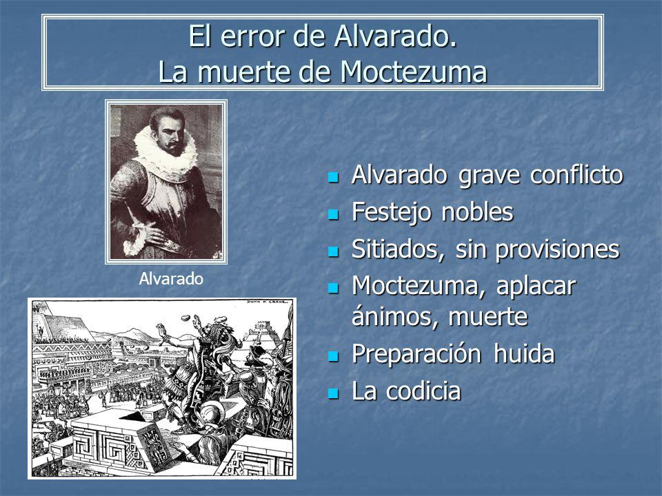 El error de Alvarado. La muerte de Moctezuma Alvarado grave conflicto Alvarado grave conflicto Festejo nobles Festejo nobles Sitiados, sin provisiones