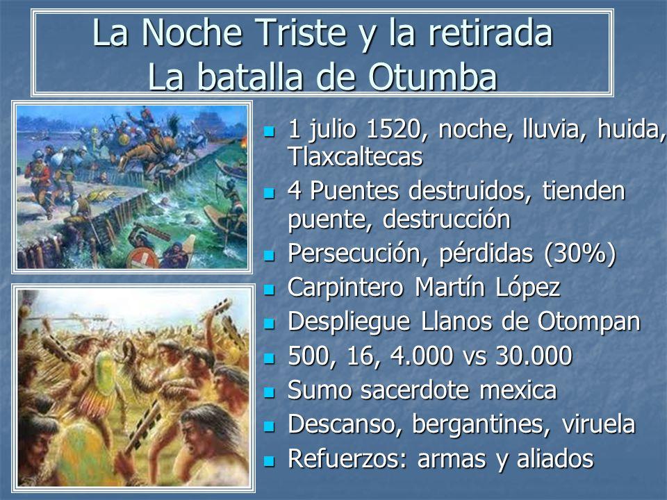 La Noche Triste y la retirada La batalla de Otumba 1 julio 1520, noche, lluvia, huida, Tlaxcaltecas 1 julio 1520, noche, lluvia, huida, Tlaxcaltecas 4