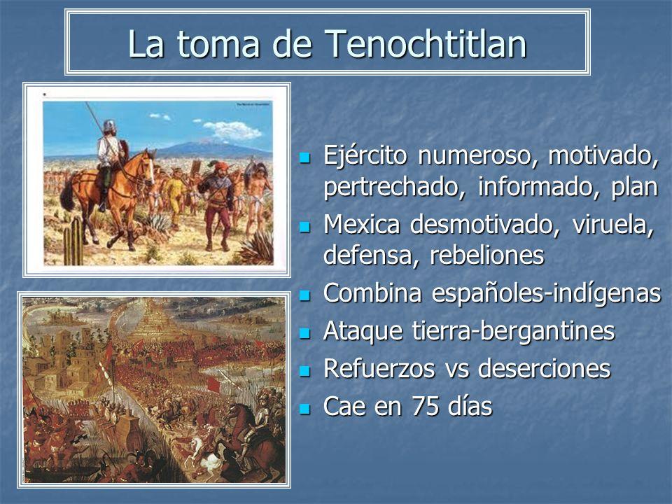 La toma de Tenochtitlan Ejército numeroso, motivado, pertrechado, informado, plan Ejército numeroso, motivado, pertrechado, informado, plan Mexica des