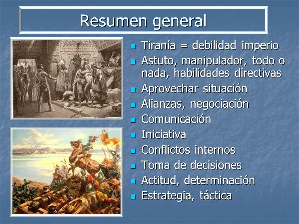 Resumen general Tiranía = debilidad imperio Tiranía = debilidad imperio Astuto, manipulador, todo o nada, habilidades directivas Astuto, manipulador,