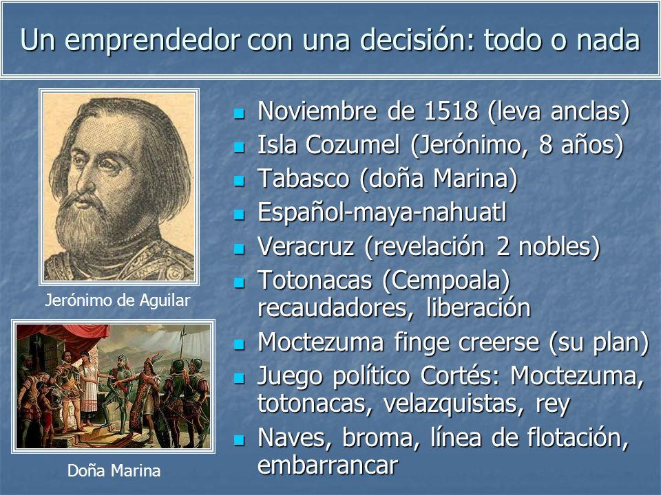 Un emprendedor con una decisión: todo o nada Noviembre de 1518 (leva anclas) Noviembre de 1518 (leva anclas) Isla Cozumel (Jerónimo, 8 años) Isla Cozu