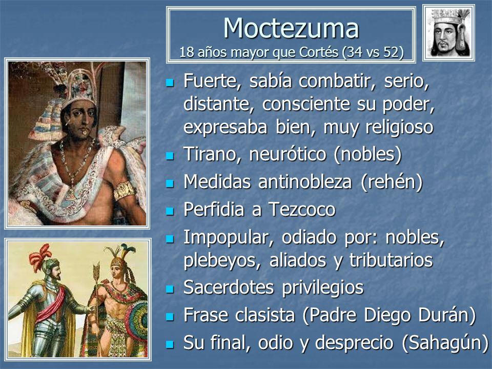 Moctezuma 18 años mayor que Cortés (34 vs 52) Fuerte, sabía combatir, serio, distante, consciente su poder, expresaba bien, muy religioso Fuerte, sabí