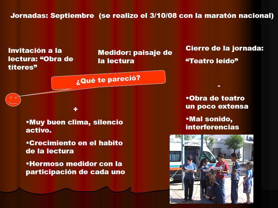 Jornadas: Septiembre (se realizo el 3/10/08 con la maratón nacional) Invitación a la lectura: Obra de títeres Medidor: paisaje de la lectura Cierre de