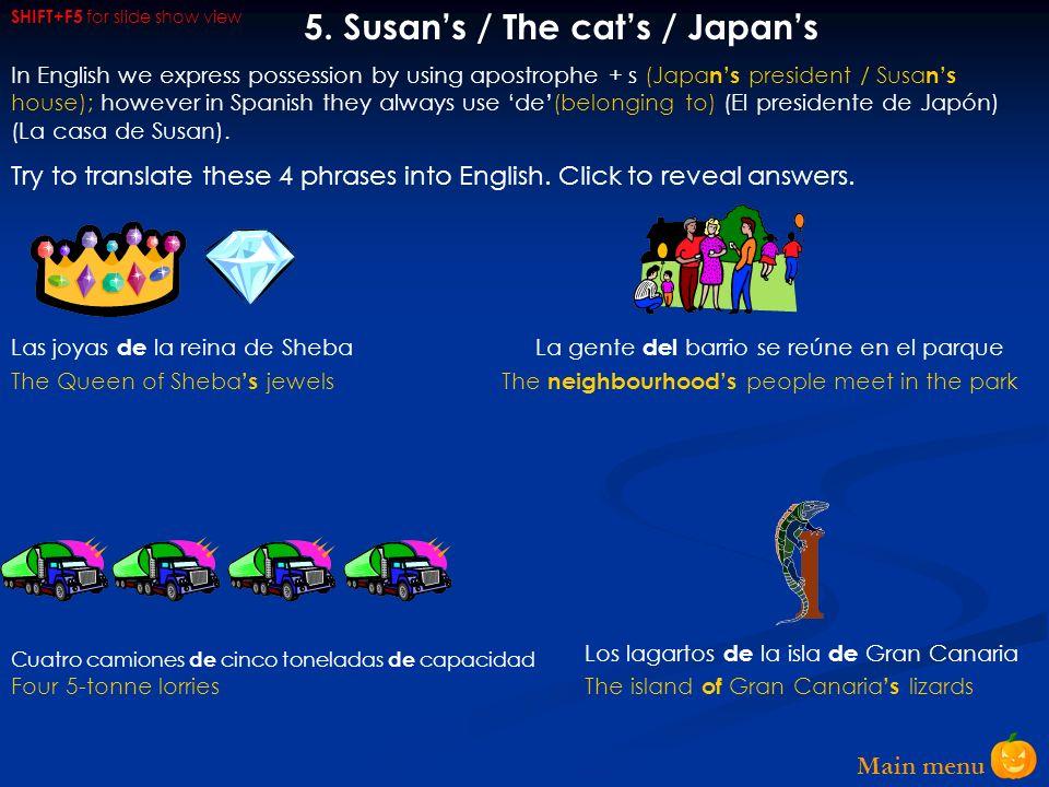 Main menu 5.
