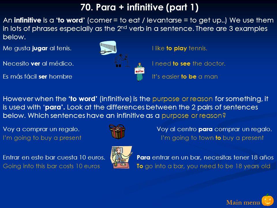 Main menu 69. Volver a + infinitive Ha vuelto a tomar drogas No volveré a trabajar de noche Volví a leer el libro porque era muy interesante Youve alr