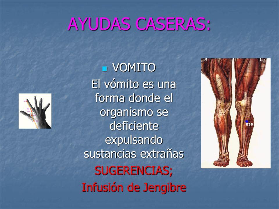 AYUDAS CASERAS: VOMITO VOMITO El vómito es una forma donde el organismo se deficiente expulsando sustancias extrañas SUGERENCIAS; Infusión de Jengibre