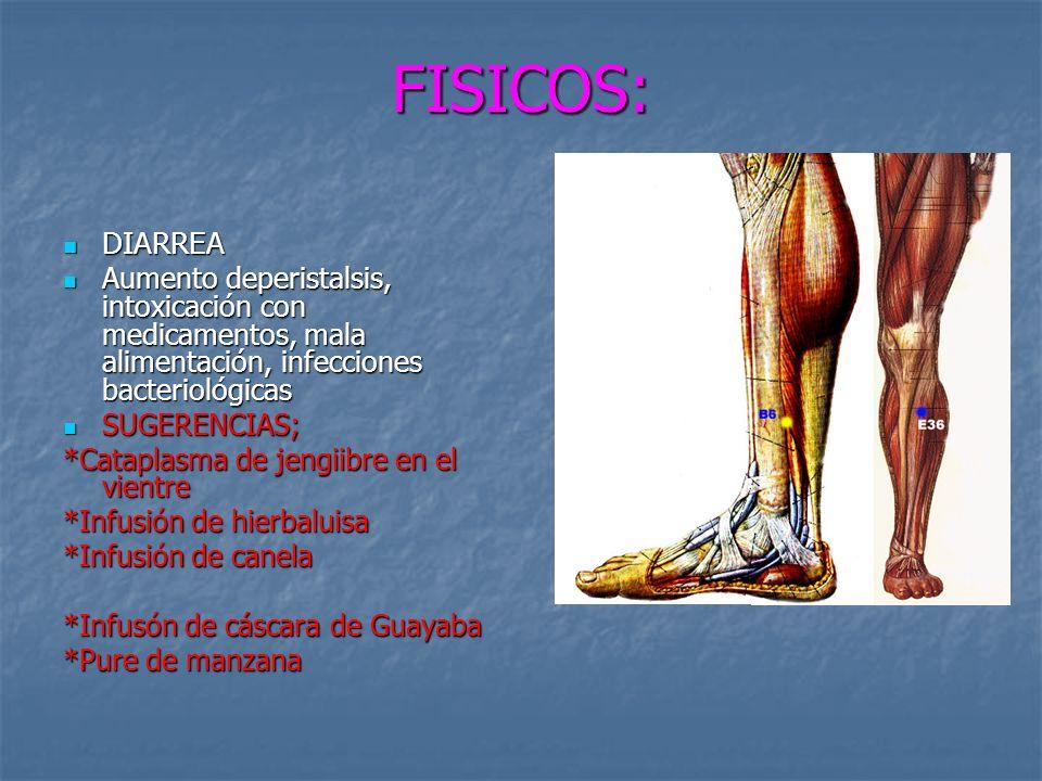 FISICOS: DIARREA DIARREA Aumento deperistalsis, intoxicación con medicamentos, mala alimentación, infecciones bacteriológicas Aumento deperistalsis, intoxicación con medicamentos, mala alimentación, infecciones bacteriológicas SUGERENCIAS; SUGERENCIAS; *Cataplasma de jengiibre en el vientre *Infusión de hierbaluisa *Infusión de canela *Infusón de cáscara de Guayaba *Pure de manzana