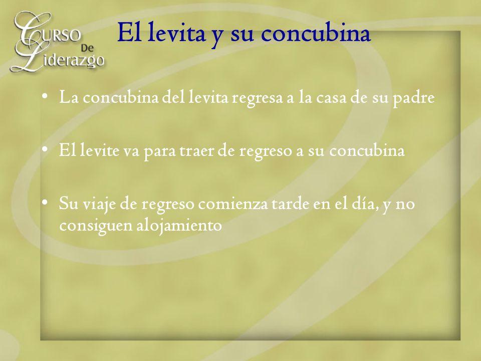 El levita y su concubina La concubina del levita regresa a la casa de su padre El levite va para traer de regreso a su concubina Su viaje de regreso c