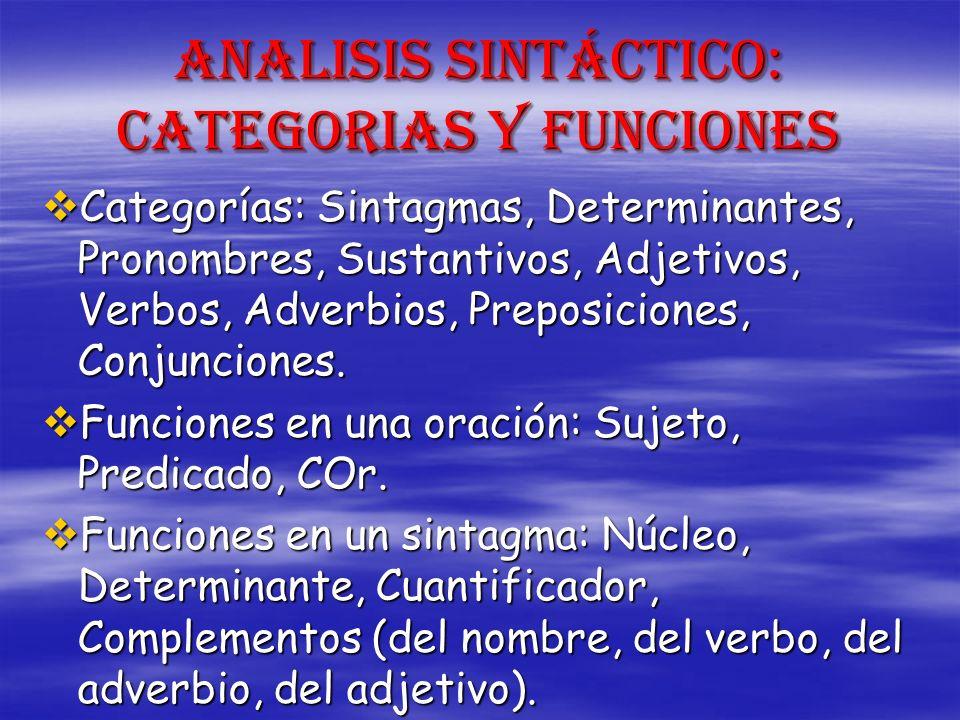 ANALISIS SINTÁCTICO: CATEGORIAS Y FUNCIONES Categorías: Sintagmas, Determinantes, Pronombres, Sustantivos, Adjetivos, Verbos, Adverbios, Preposiciones