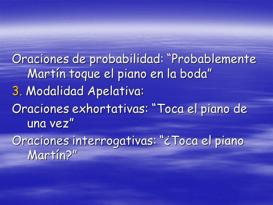 Oraciones de probabilidad: Probablemente Martín toque el piano en la boda 3. Modalidad Apelativa: Oraciones exhortativas: Toca el piano de una vez Ora