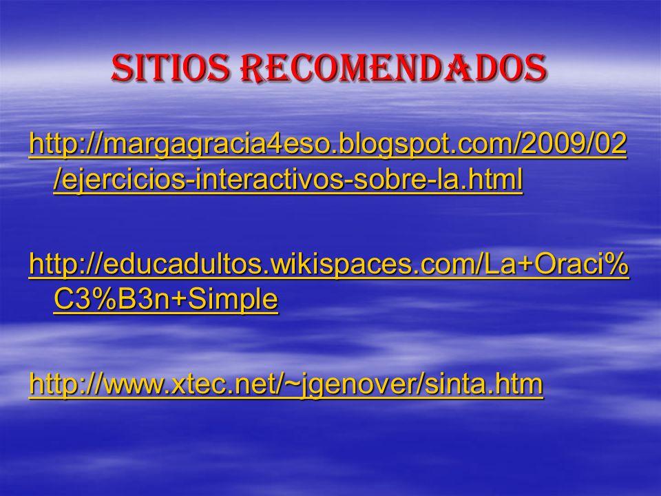 Sitios recomendados http://margagracia4eso.blogspot.com/2009/02 /ejercicios-interactivos-sobre-la.html http://margagracia4eso.blogspot.com/2009/02 /ej