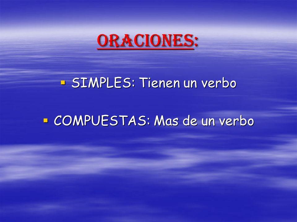 ORACIONES: SIMPLES: Tienen un verbo SIMPLES: Tienen un verbo COMPUESTAS: Mas de un verbo COMPUESTAS: Mas de un verbo