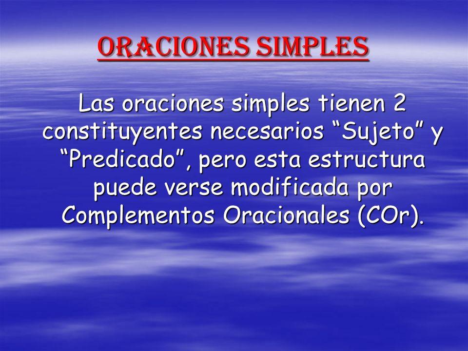 Oraciones Simples Las oraciones simples tienen 2 constituyentes necesarios Sujeto y Predicado, pero esta estructura puede verse modificada por Complem