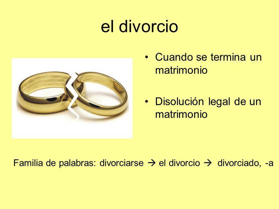el divorcio Cuando se termina un matrimonio Disolución legal de un matrimonio Familia de palabras: divorciarse el divorcio divorciado, -a