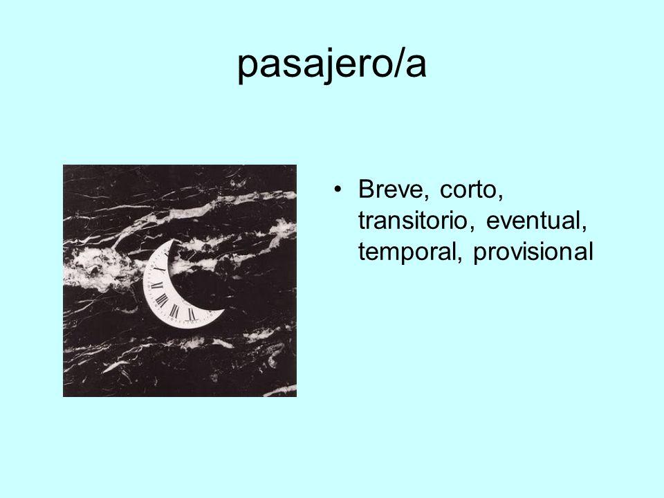 pasajero/a Breve, corto, transitorio, eventual, temporal, provisional