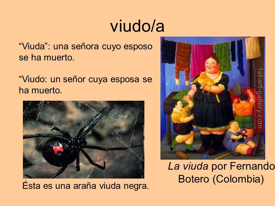 viudo/a Ésta es una araña viuda negra. La viuda por Fernando Botero (Colombia) Viuda: una señora cuyo esposo se ha muerto. Viudo: un señor cuya esposa