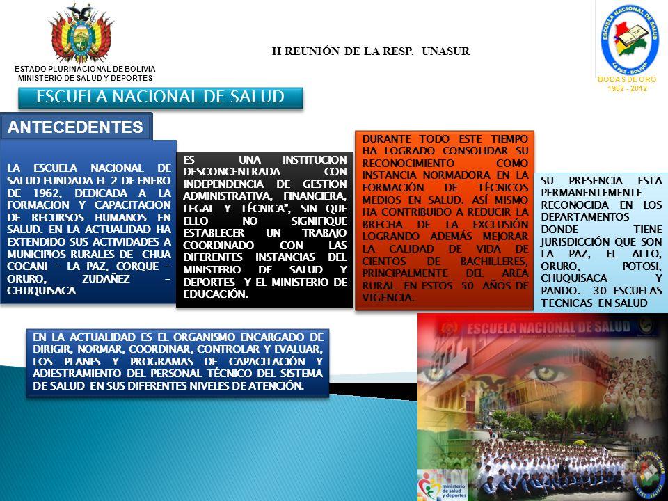 ESTADO PLURINACIONAL DE BOLIVIA MINISTERIO DE SALUD Y DEPORTES BODAS DE ORO 1962 - 2012 ANTECEDENTES LA ESCUELA NACIONAL DE SALUD FUNDADA EL 2 DE ENER