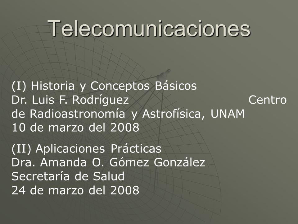 Telecomunicaciones (I) Historia y Conceptos Básicos Dr. Luis F. Rodríguez Centro de Radioastronomía y Astrofísica, UNAM 10 de marzo del 2008 (II) Apli