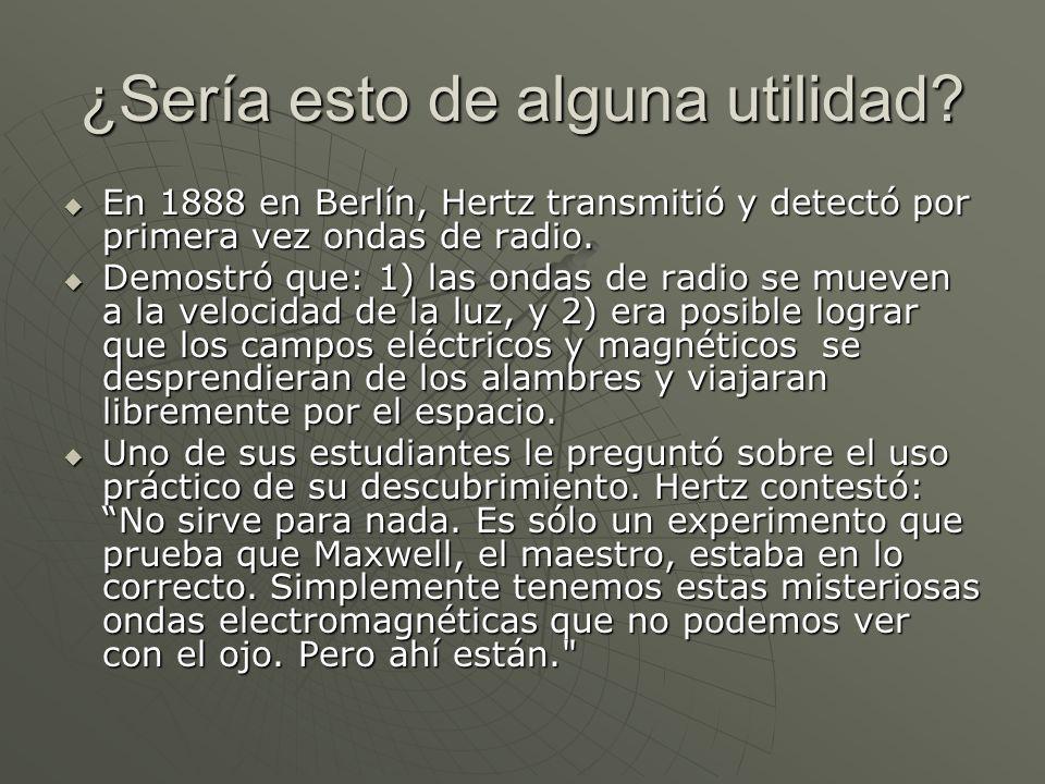 ¿Sería esto de alguna utilidad? En 1888 en Berlín, Hertz transmitió y detectó por primera vez ondas de radio. En 1888 en Berlín, Hertz transmitió y de