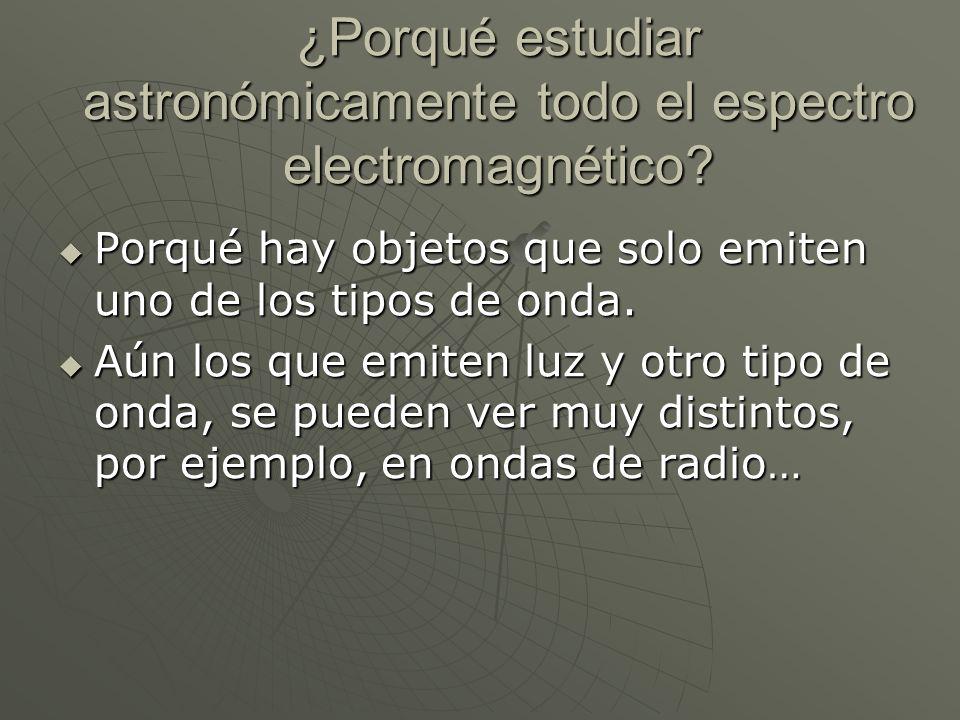 ¿Porqué estudiar astronómicamente todo el espectro electromagnético? Porqué hay objetos que solo emiten uno de los tipos de onda. Porqué hay objetos q