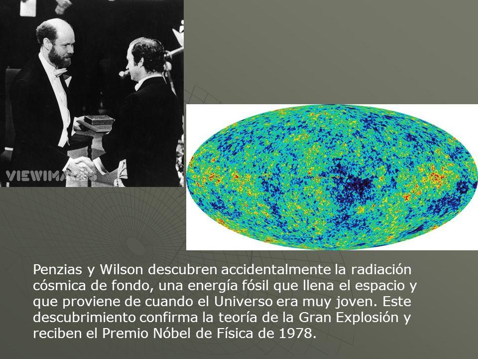 Penzias y Wilson descubren accidentalmente la radiación cósmica de fondo, una energía fósil que llena el espacio y que proviene de cuando el Universo