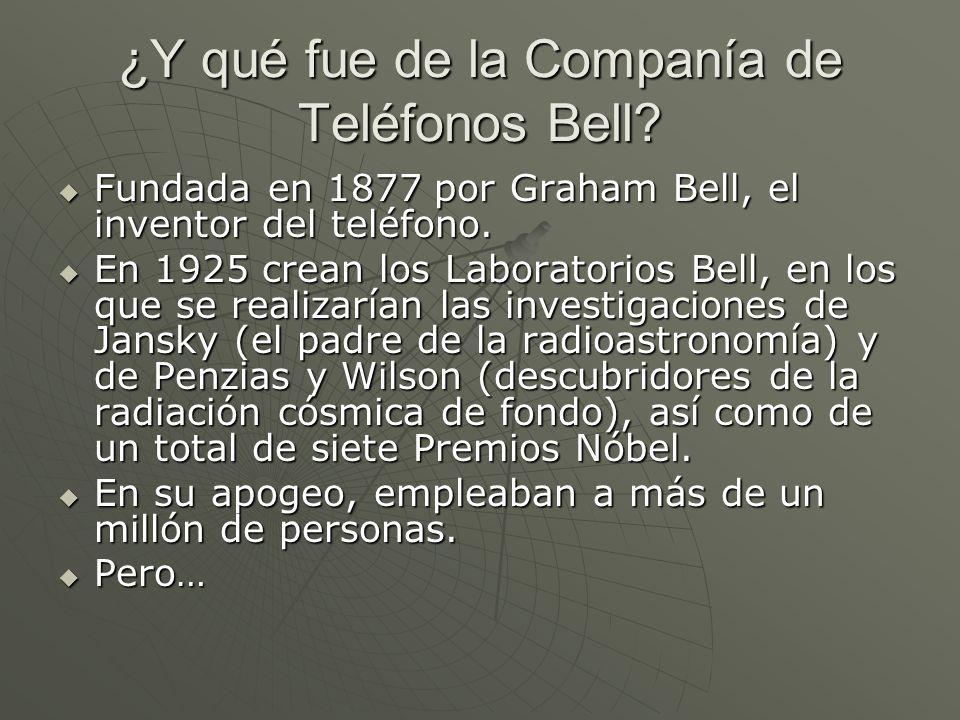 ¿Y qué fue de la Companía de Teléfonos Bell? Fundada en 1877 por Graham Bell, el inventor del teléfono. Fundada en 1877 por Graham Bell, el inventor d