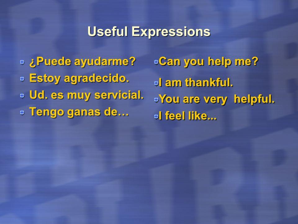 Useful Expressions ¿Puede ayudarme? Estoy agradecido. Ud. es muy servicial. Tengo ganas de… ¿Puede ayudarme? Estoy agradecido. Ud. es muy servicial. T