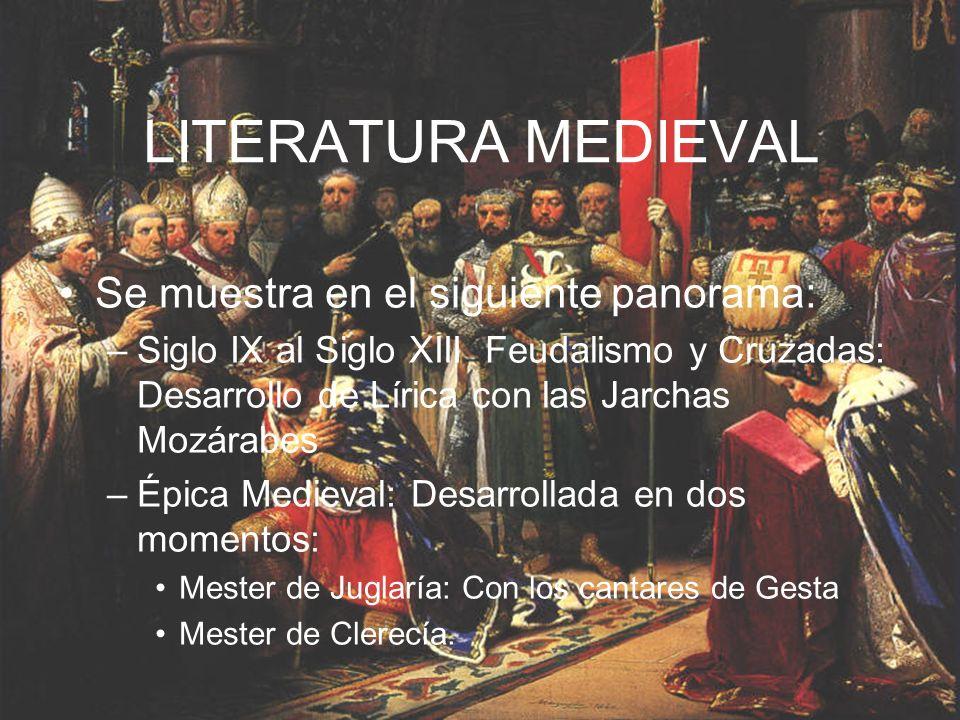 LITERATURA MEDIEVAL Se muestra en el siguiente panorama: –Siglo IX al Siglo XIII Feudalismo y Cruzadas: Desarrollo de Lírica con las Jarchas Mozárabes